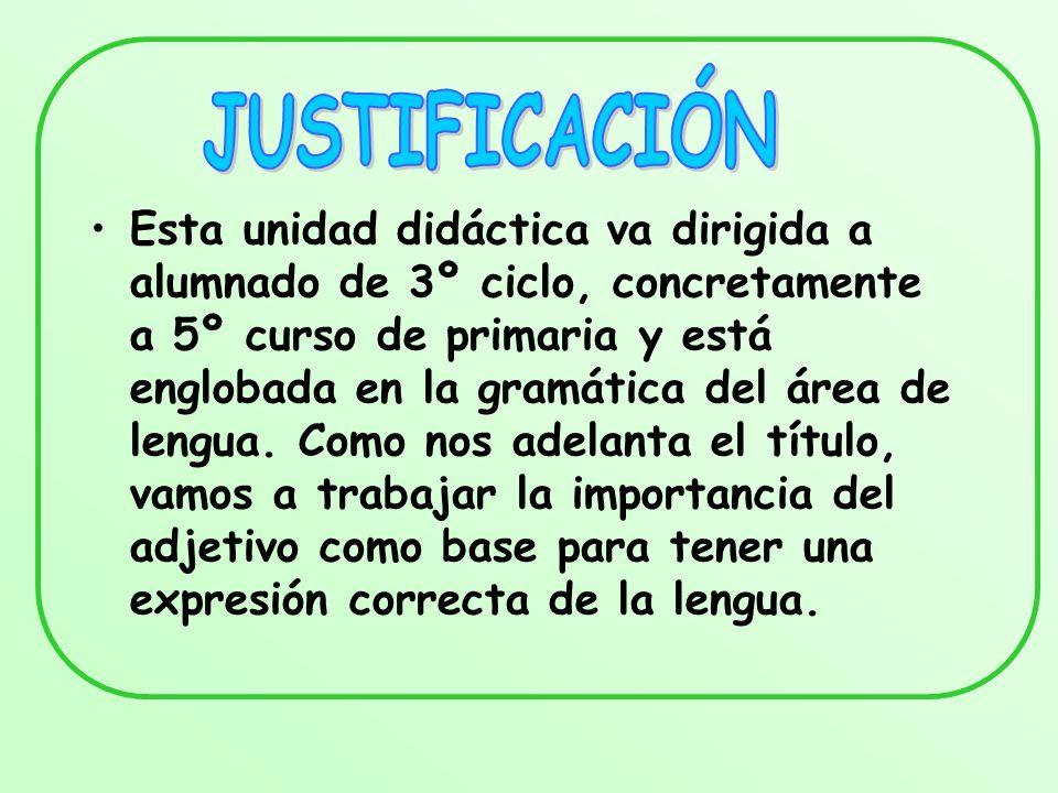 Esta unidad didáctica va dirigida a alumnado de 3º ciclo, concretamente a 5º curso de primaria y está englobada en la gramática del área de lengua. Co