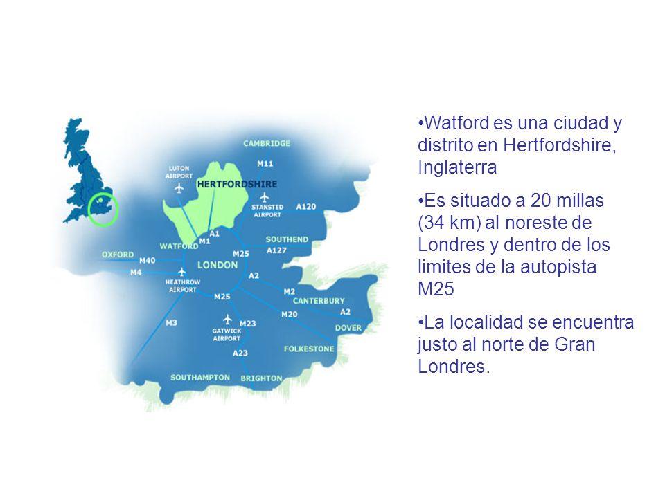 Watford es una ciudad y distrito en Hertfordshire, Inglaterra Es situado a 20 millas (34 km) al noreste de Londres y dentro de los limites de la autopista M25 La localidad se encuentra justo al norte de Gran Londres.