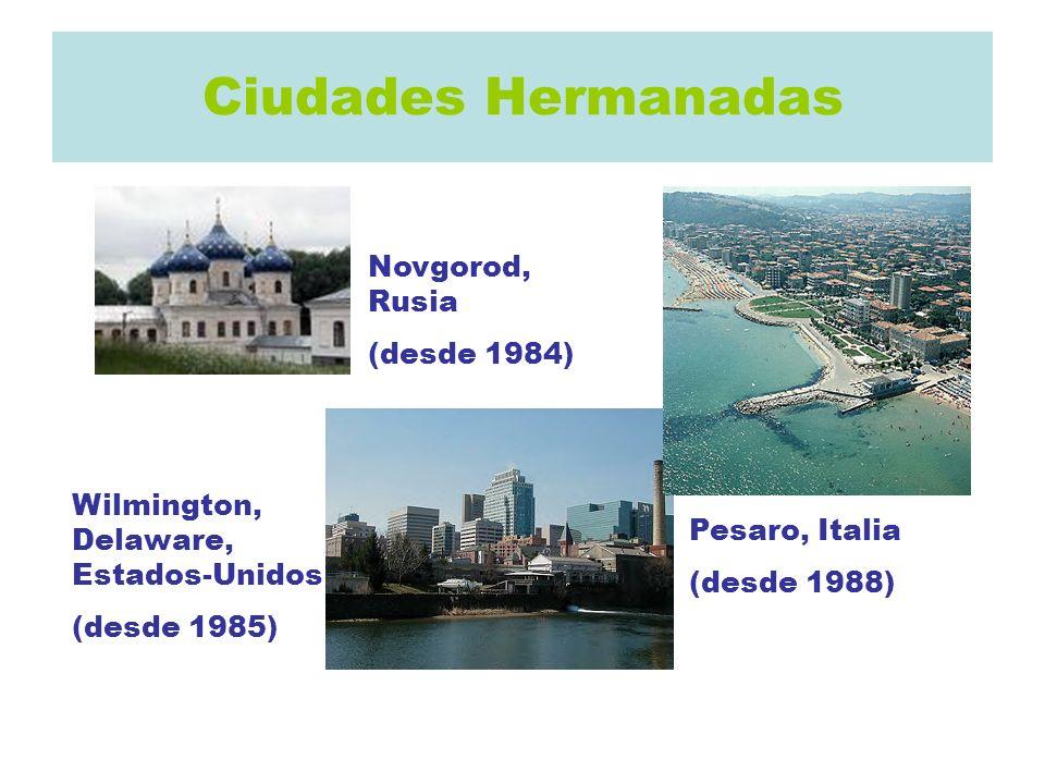 Ciudades Hermanadas Novgorod, Rusia (desde 1984) Wilmington, Delaware, Estados-Unidos (desde 1985) Pesaro, Italia (desde 1988)