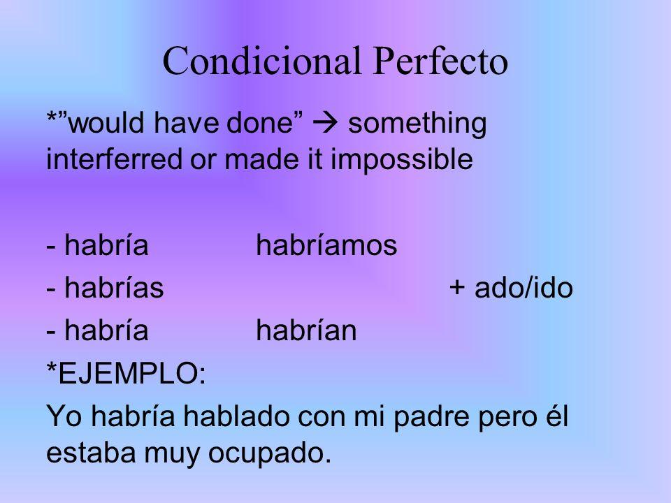 Condicional Perfecto *would have done something interferred or made it impossible - habría habríamos - habrías+ ado/ido - habría habrían *EJEMPLO: Yo
