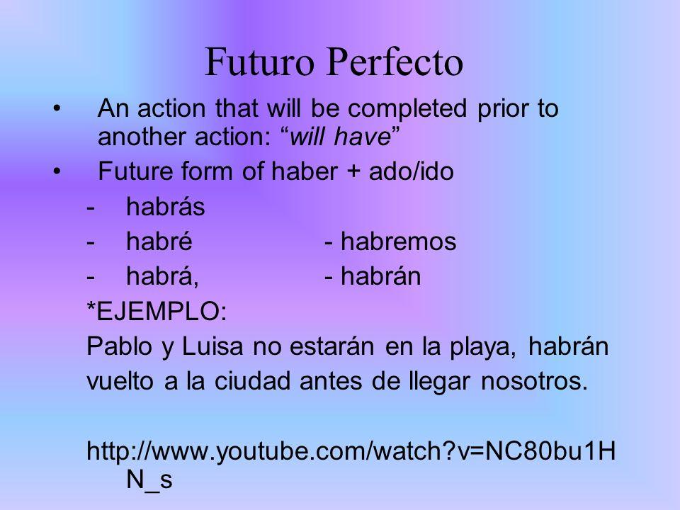 Warm up #2 1.¿Qué es las principales palabras en inglés para describir el futuro perfecto.
