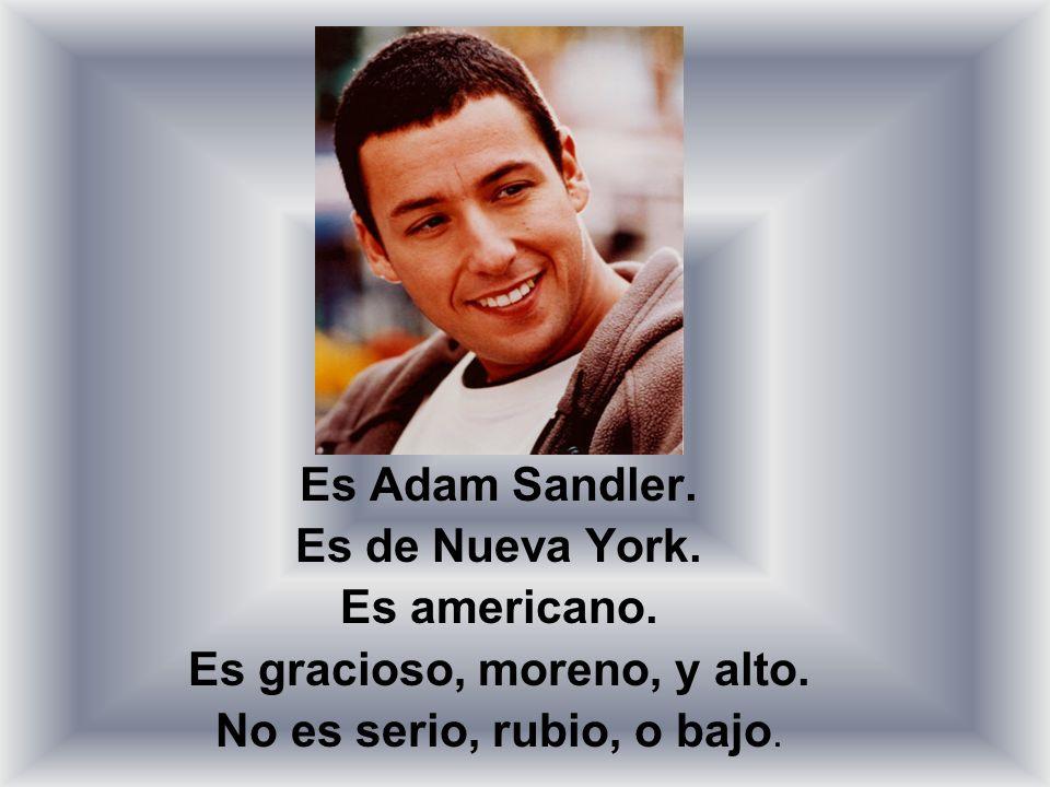 Es Adam Sandler. Es de Nueva York. Es americano. Es gracioso, moreno, y alto. No es serio, rubio, o bajo.