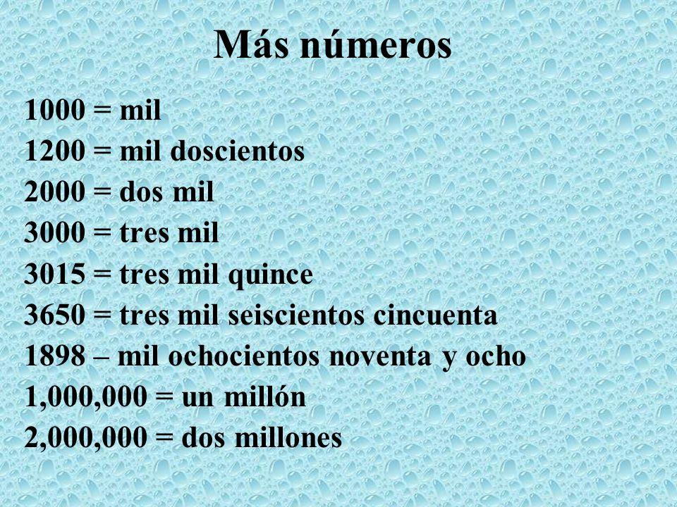 Más números 1000 = mil 1200 = mil doscientos 2000 = dos mil 3000 = tres mil 3015 = tres mil quince 3650 = tres mil seiscientos cincuenta 1898 – mil oc