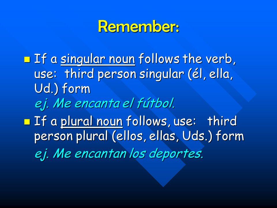 Remember: If a singular noun follows the verb, use: third person singular (él, ella, Ud.) form ej.