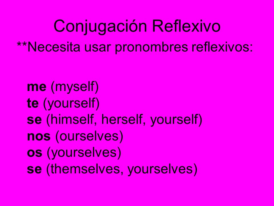 Conjugación Reflexivo **Necesita usar pronombres reflexivos: me (myself) te (yourself) se (himself, herself, yourself) nos (ourselves) os (yourselves)