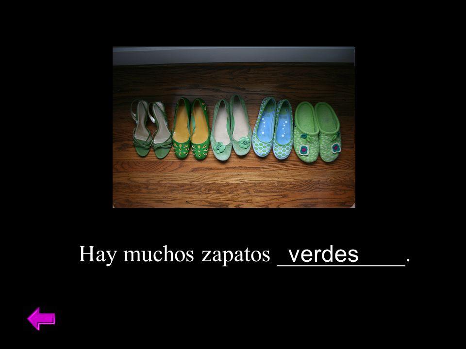 Hay muchos zapatos ___________. verdes