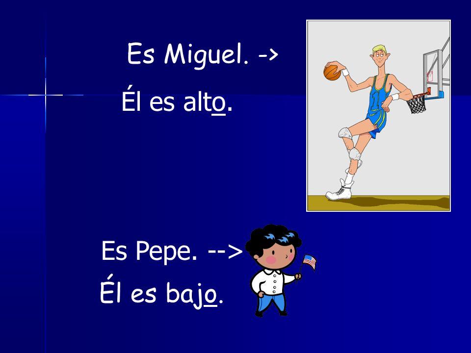Es Miguel. -> Él es alto. Es Pepe. --> Él es bajo.