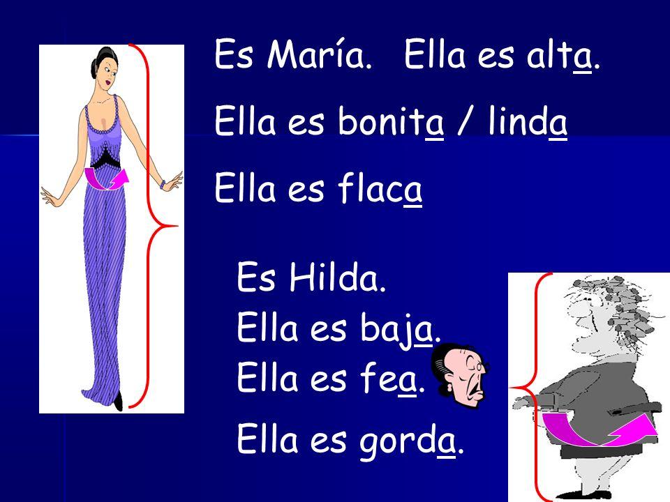 Es María.Ella es alta. Ella es bonita / linda Ella es flaca Es Hilda.