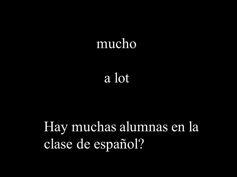 mucho a lot Hay muchas alumnas en la clase de español?