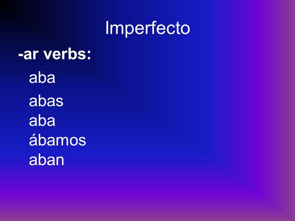 Imperfecto -ar verbs: aba abas aba ábamos aban