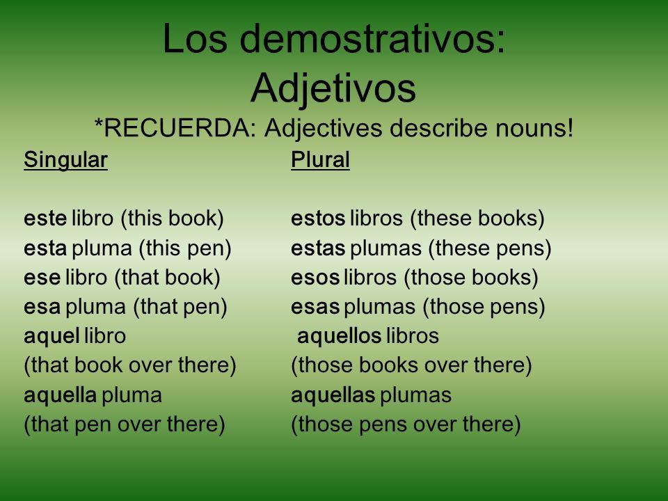 Los demostrativos: Pronombres *RECUERDA: Pronouns replace nouns éste (this one - masculine) éstos (these ones - masculine) ésta (this one - feminine)éstas (these ones - feminine) ése (that one - masculine)ésos (those ones - masculine) ésa (that one - feminine)ésas (those ones - feminine) aquél aquéllos (that one over there - masc.)(those ones over there - masc.) aquéllaaquéllas (that one over there - fem.) (those ones over there - fem.)