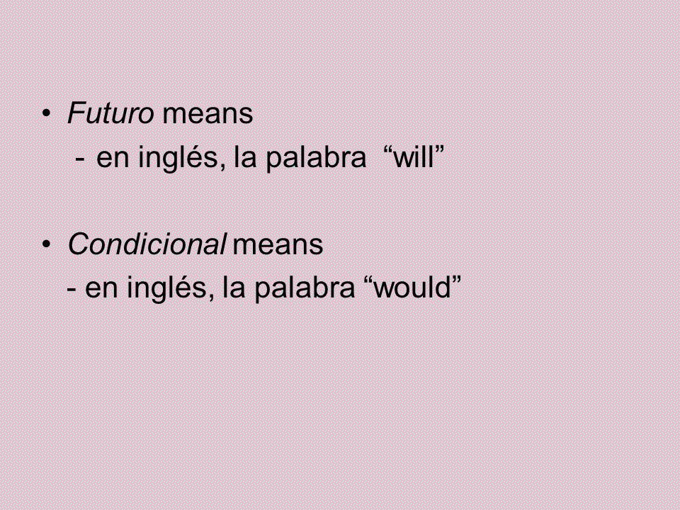 Futuro means -en inglés, la palabra will Condicional means - en inglés, la palabra would