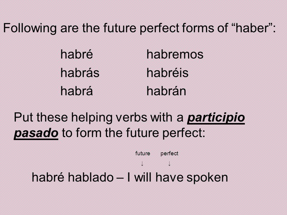 Following are the future perfect forms of haber: habréhabremos habráshabréis habráhabrán Put these helping verbs with a participio pasado to form the