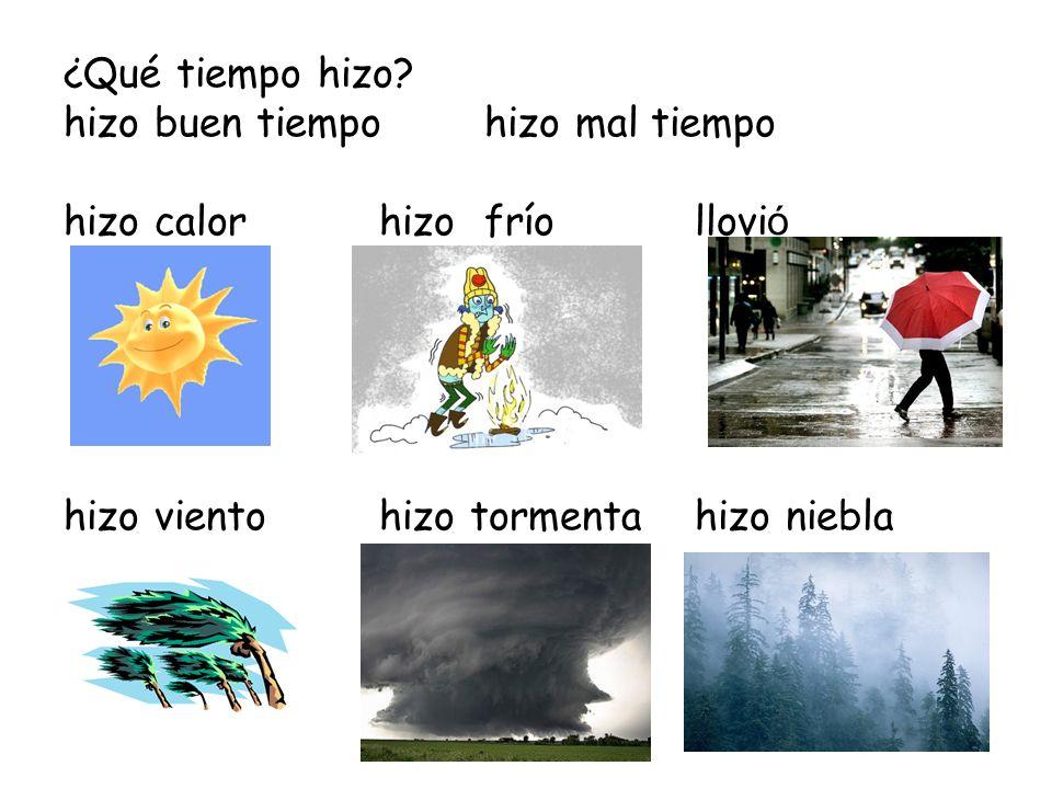 ¿Qué tiempo hizo? hizo buen tiempo hizo mal tiempo hizo calorhizofríollovi ó hizo vientohizo tormentahizo niebla