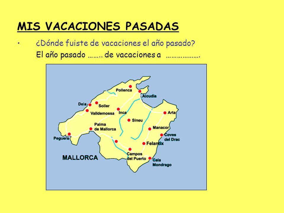 MIS VACACIONES PASADAS ¿Dónde fuiste de vacaciones el año pasado? El año pasado …….. de vacaciones a ……………….