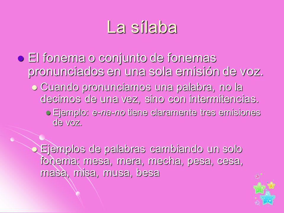 La sílaba El fonema o conjunto de fonemas pronunciados en una sola emisión de voz. El fonema o conjunto de fonemas pronunciados en una sola emisión de