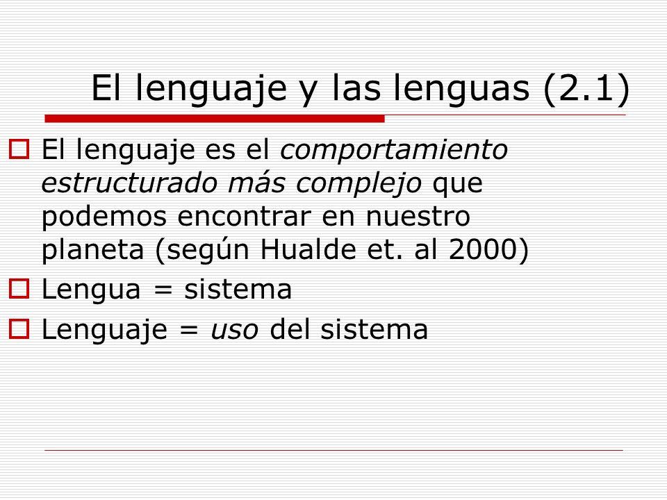El lenguaje y las lenguas (2.1) El lenguaje es el comportamiento estructurado más complejo que podemos encontrar en nuestro planeta (según Hualde et.