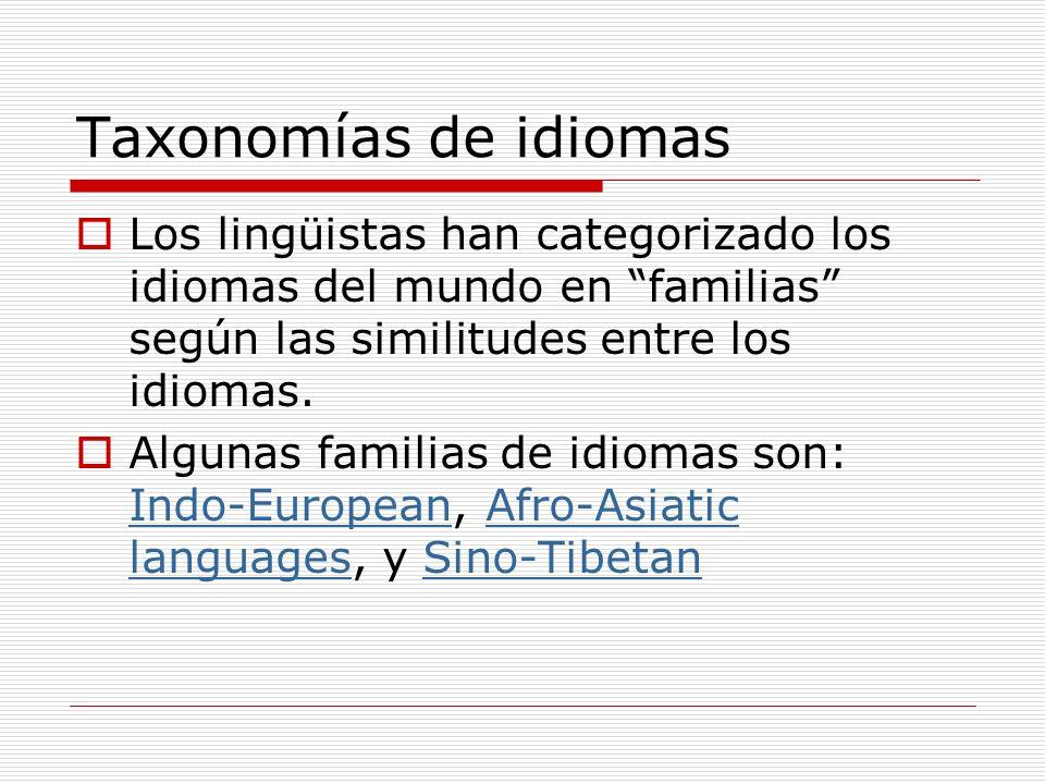 Taxonomías de idiomas Los lingüistas han categorizado los idiomas del mundo en familias según las similitudes entre los idiomas. Algunas familias de i