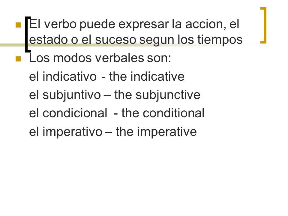 El verbo puede expresar la accion, el estado o el suceso segun los tiempos Los modos verbales son: el indicativo - the indicative el subjuntivo – the