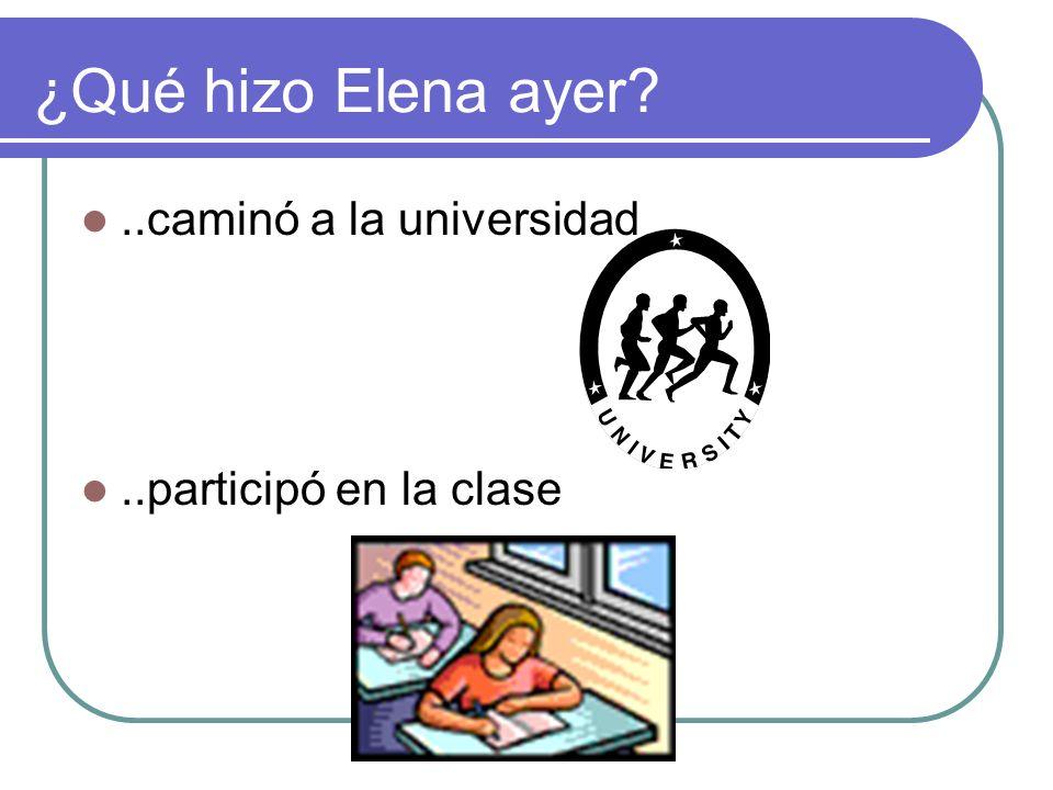 ¿Qué hizo Elena ayer?..caminó a la universidad..participó en la clase