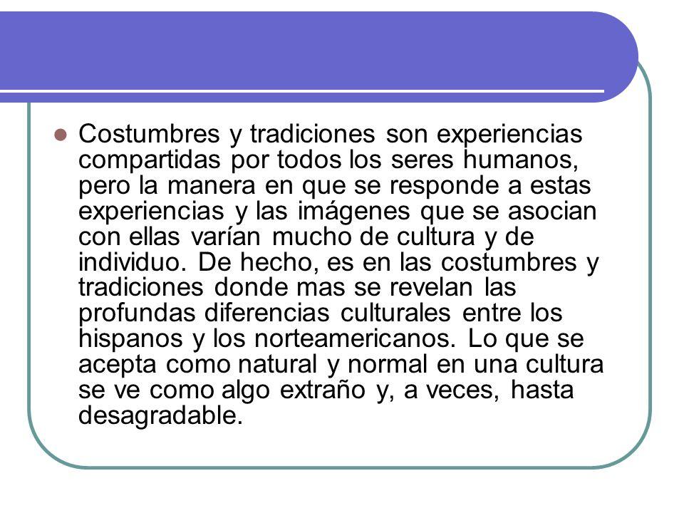 Costumbres y tradiciones son experiencias compartidas por todos los seres humanos, pero la manera en que se responde a estas experiencias y las imágenes que se asocian con ellas varían mucho de cultura y de individuo.