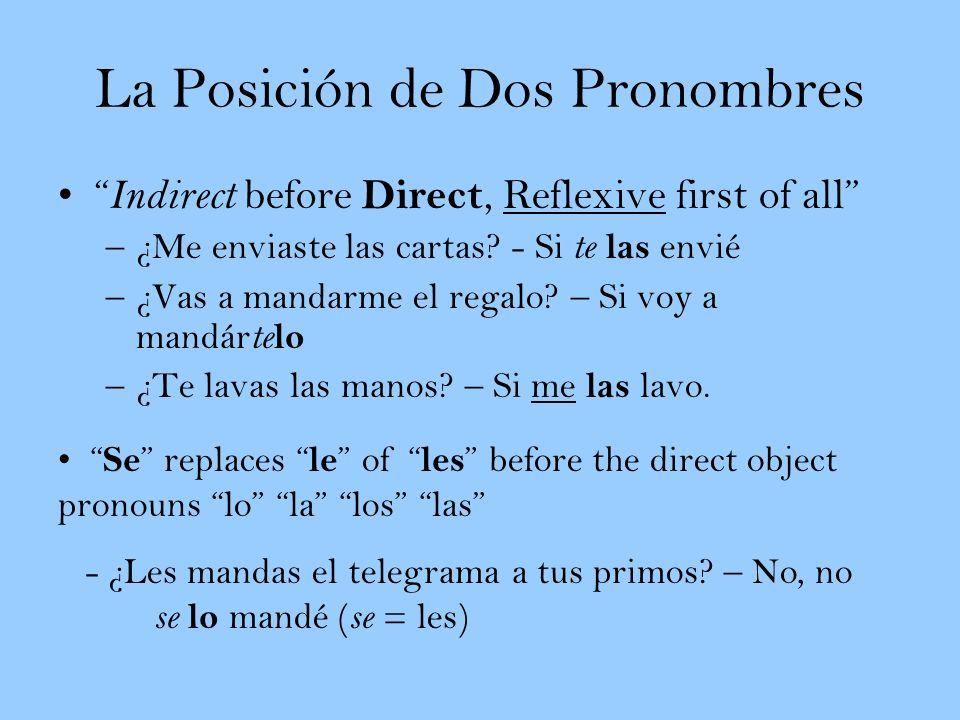 La Posición de Dos Pronombres Indirect before Direct, Reflexive first of all –¿Me enviaste las cartas? - Si te las envié –¿Vas a mandarme el regalo? –