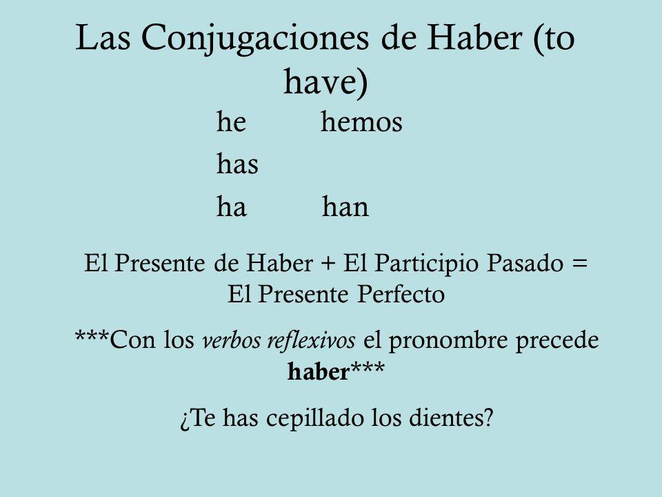 Las Conjugaciones de Haber (to have) he hemos has ha han El Presente de Haber + El Participio Pasado = El Presente Perfecto ***Con los verbos reflexiv