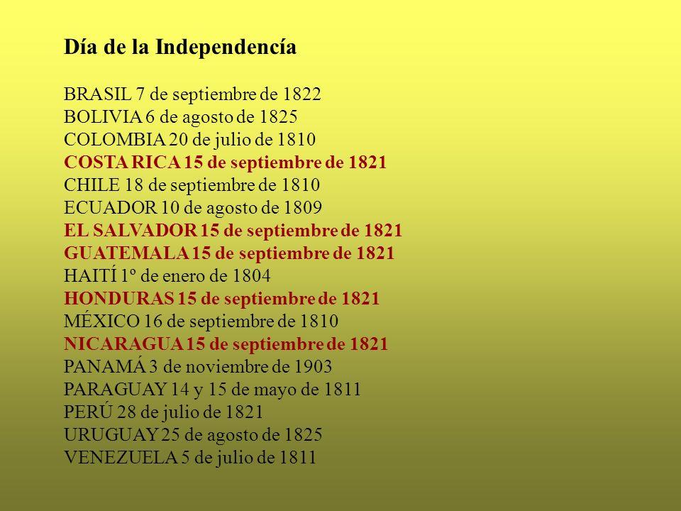 Día de la Independencía BRASIL 7 de septiembre de 1822 BOLIVIA 6 de agosto de 1825 COLOMBIA 20 de julio de 1810 COSTA RICA 15 de septiembre de 1821 CH