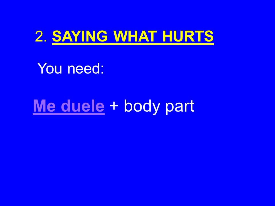2. SAYING WHAT HURTS You need: Me duele + body part