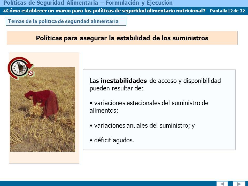Pantalla12 de 22 Políticas de Seguridad Alimentaria – Formulación y Ejecución ¿Cómo establecer un marco para las políticas de seguridad alimentaria nutricional.