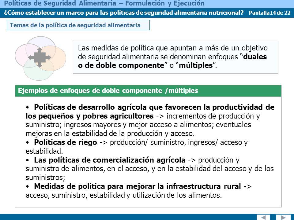 Pantalla14 de 22 Políticas de Seguridad Alimentaria – Formulación y Ejecución ¿Cómo establecer un marco para las políticas de seguridad alimentaria nutricional.