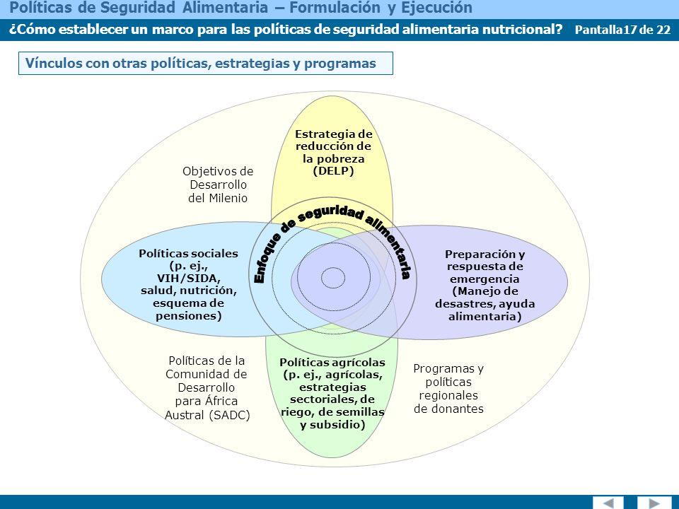 Pantalla17 de 22 Políticas de Seguridad Alimentaria – Formulación y Ejecución ¿Cómo establecer un marco para las políticas de seguridad alimentaria nutricional.