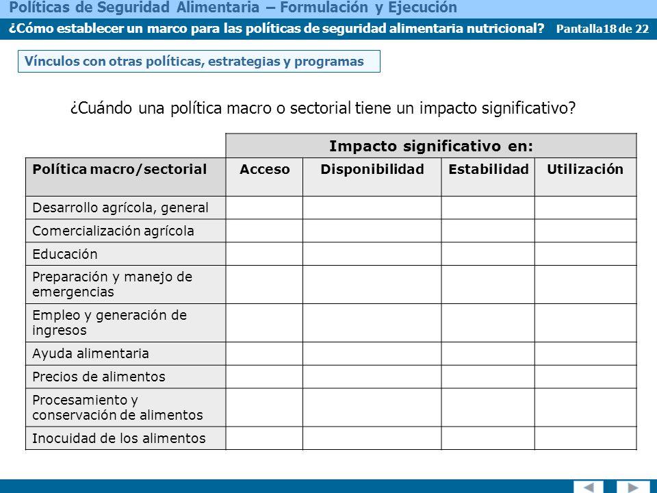 Pantalla18 de 22 Políticas de Seguridad Alimentaria – Formulación y Ejecución ¿Cómo establecer un marco para las políticas de seguridad alimentaria nutricional.