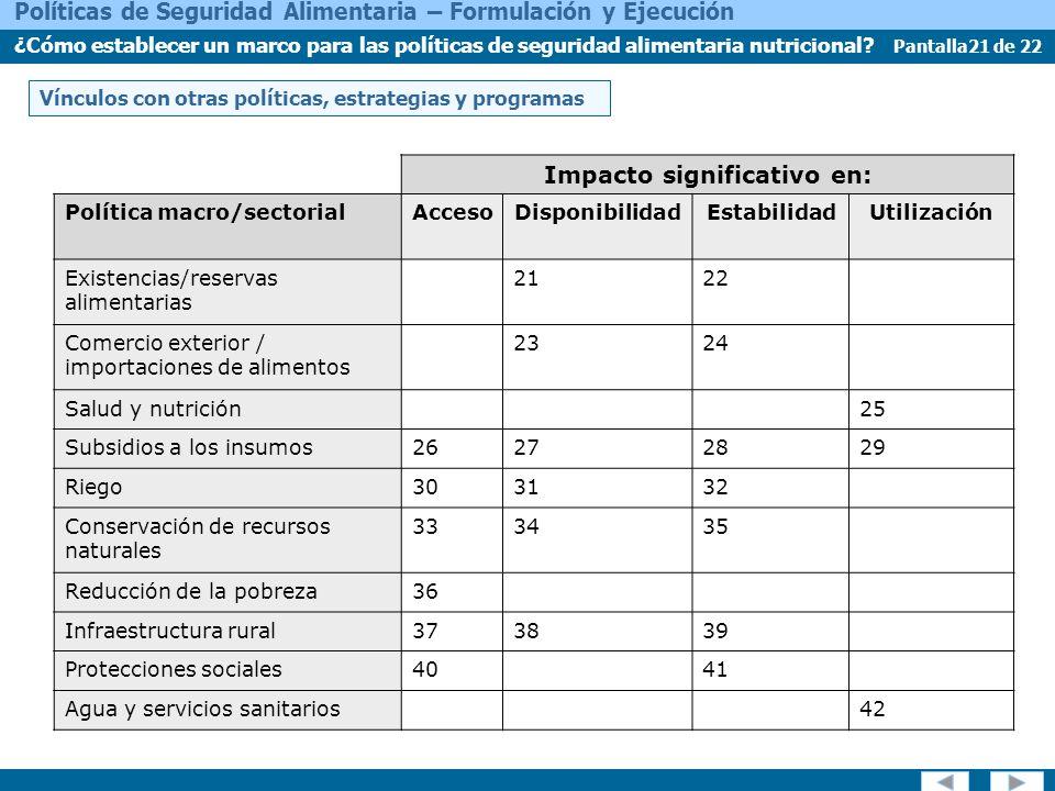 Pantalla21 de 22 Políticas de Seguridad Alimentaria – Formulación y Ejecución ¿Cómo establecer un marco para las políticas de seguridad alimentaria nutricional.