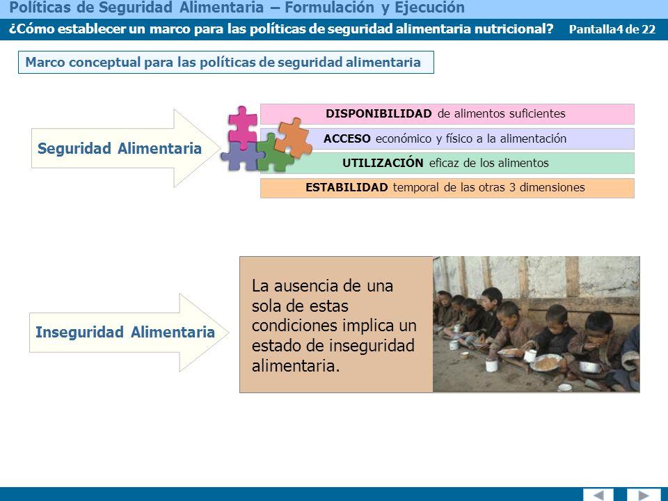 Pantalla4 de 22 Políticas de Seguridad Alimentaria – Formulación y Ejecución ¿Cómo establecer un marco para las políticas de seguridad alimentaria nutricional.