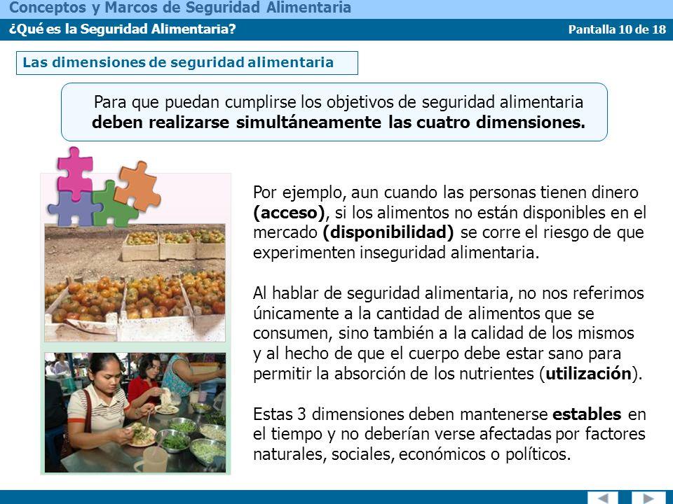 Pantalla 10 de 18 Conceptos y Marcos de Seguridad Alimentaria ¿Qué es la Seguridad Alimentaria? Para que puedan cumplirse los objetivos de seguridad a