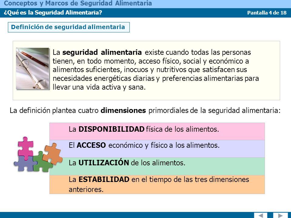 Pantalla 15 de 18 Conceptos y Marcos de Seguridad Alimentaria ¿Qué es la Seguridad Alimentaria.