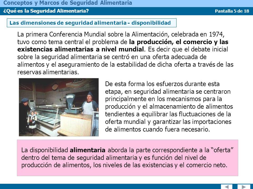 Pantalla 16 de 18 Conceptos y Marcos de Seguridad Alimentaria ¿Qué es la Seguridad Alimentaria.