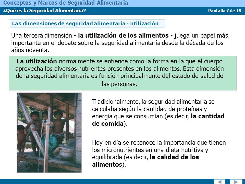 Pantalla 7 de 18 Conceptos y Marcos de Seguridad Alimentaria ¿Qué es la Seguridad Alimentaria? Las dimensiones de seguridad alimentaria - utilización
