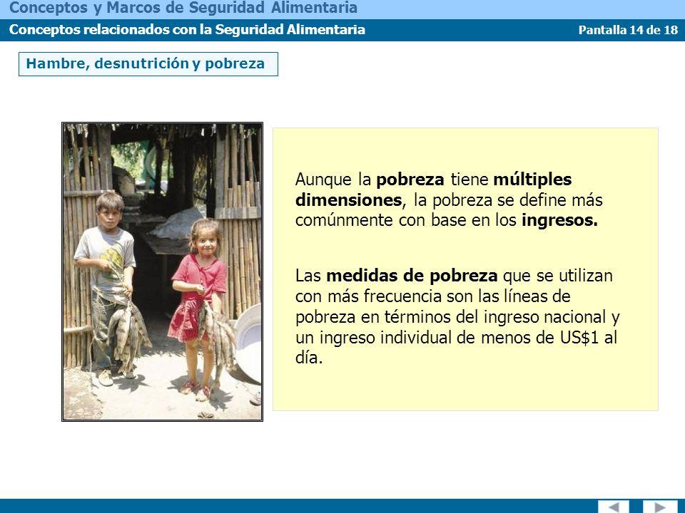Pantalla 14 de 18 Conceptos y Marcos de Seguridad Alimentaria Conceptos relacionados con la Seguridad Alimentaria Aunque la pobreza tiene múltiples di