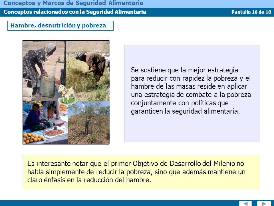 Pantalla 16 de 18 Conceptos y Marcos de Seguridad Alimentaria Conceptos relacionados con la Seguridad Alimentaria Hambre, desnutrición y pobreza Se so