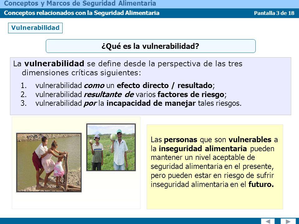 Pantalla 3 de 18 Conceptos y Marcos de Seguridad Alimentaria Conceptos relacionados con la Seguridad Alimentaria Vulnerabilidad ¿Qué es la vulnerabili