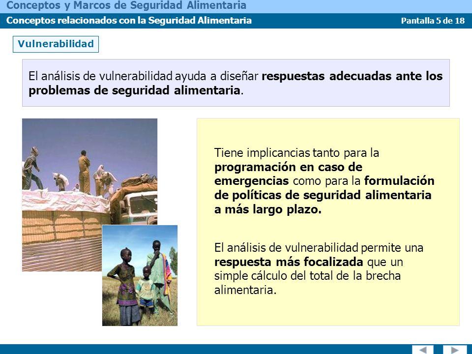 Pantalla 6 de 18 Conceptos y Marcos de Seguridad Alimentaria Conceptos relacionados con la Seguridad Alimentaria Vulnerabilidad Reconocer la naturaleza dinámica de la seguridad alimentaria ofrece nuevas oportunidades para la intervención.