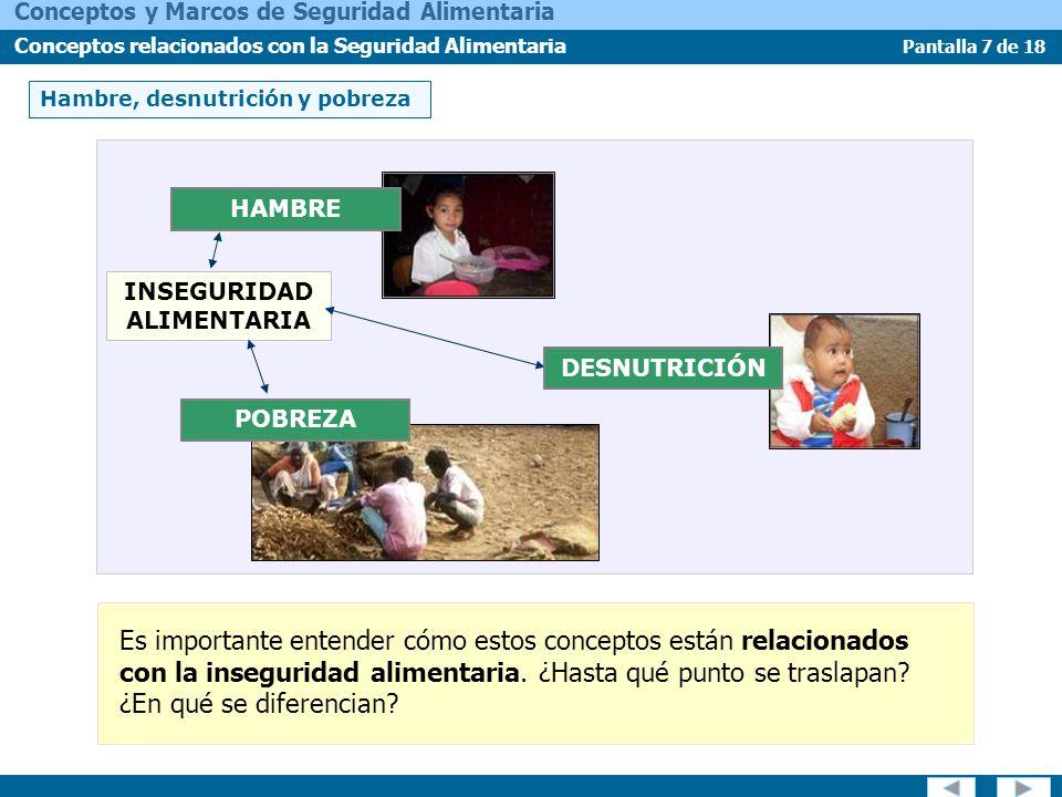 Pantalla 8 de 18 Conceptos y Marcos de Seguridad Alimentaria Conceptos relacionados con la Seguridad Alimentaria Hambre, desnutrición y pobreza HAMBRE ¿En qué se diferencia el Hambre de la Inseguridad Alimentaria.