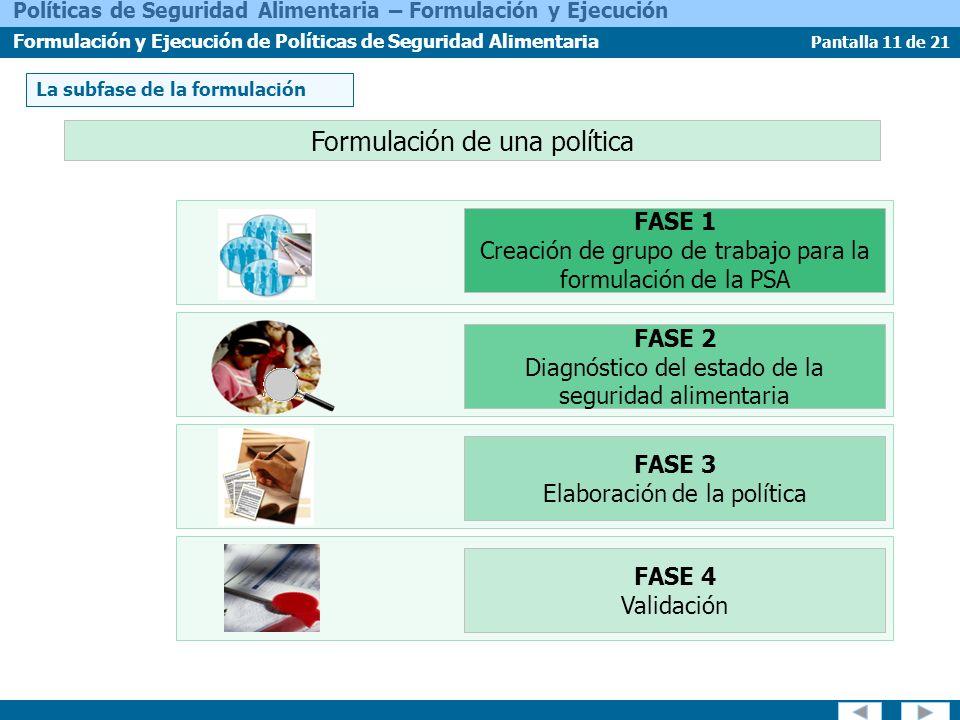 Pantalla 11 de 21 Políticas de Seguridad Alimentaria – Formulación y Ejecución Formulación y Ejecución de Políticas de Seguridad Alimentaria La subfas