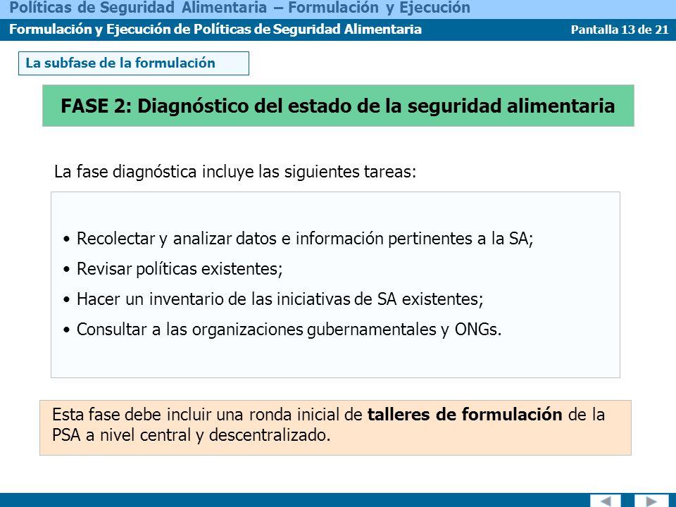 Pantalla 13 de 21 Políticas de Seguridad Alimentaria – Formulación y Ejecución Formulación y Ejecución de Políticas de Seguridad Alimentaria La fase d