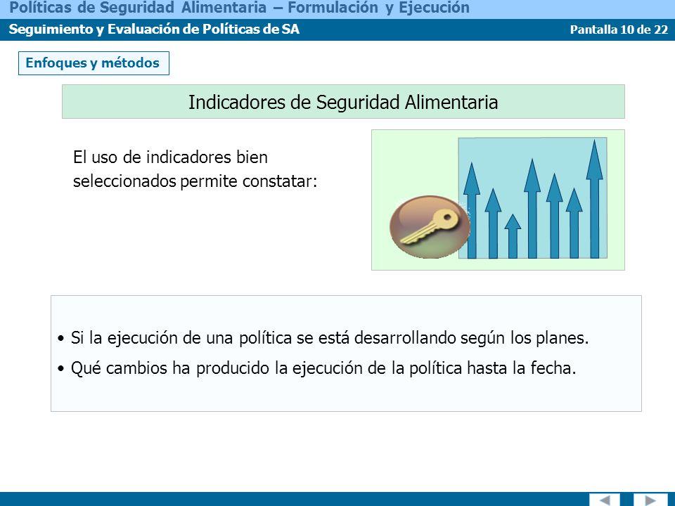 Pantalla 10 de 22 Políticas de Seguridad Alimentaria – Formulación y Ejecución Seguimiento y Evaluación de Políticas de SA Indicadores de Seguridad Al