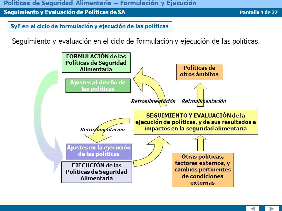 Pantalla 15 de 22 Políticas de Seguridad Alimentaria – Formulación y Ejecución Seguimiento y Evaluación de Políticas de SA Aprovechar o mejorar la recolección de datos existente.