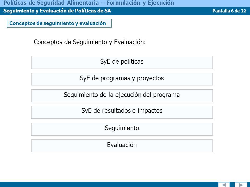 Pantalla 7 de 22 Políticas de Seguridad Alimentaria – Formulación y Ejecución Seguimiento y Evaluación de Políticas de SA Enfoques y métodos El análisis de marco lógico Los datos y fuentes de datos Los indicadores de Seguridad Alimentaria
