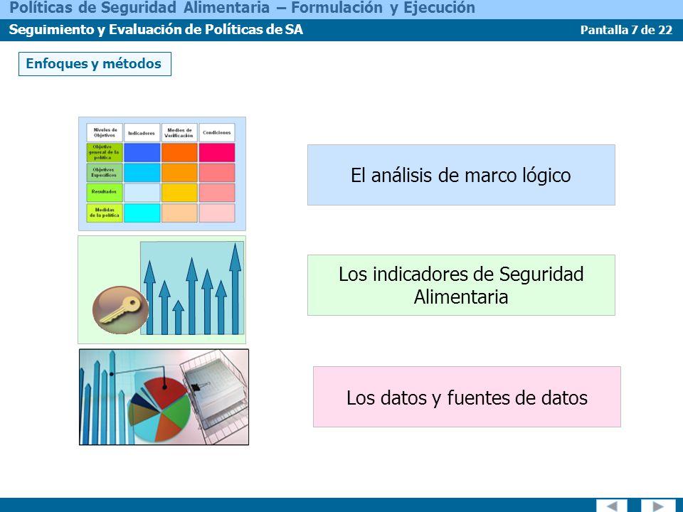 Pantalla 7 de 22 Políticas de Seguridad Alimentaria – Formulación y Ejecución Seguimiento y Evaluación de Políticas de SA Enfoques y métodos El anális
